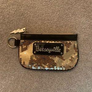 Betsy Johnson gold sequin wallet/coin purse